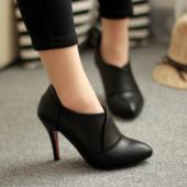 希范2016秋季新款女鞋尖头细跟高跟鞋高帮鞋潮短靴裸靴性感深口鞋