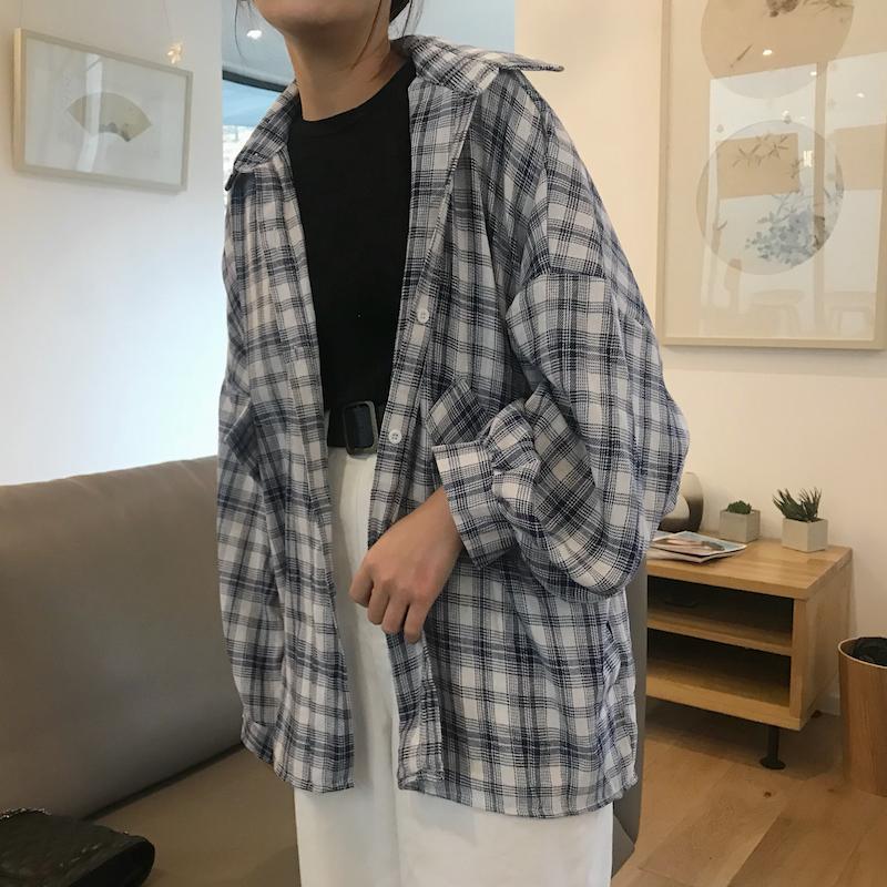 韩范宽松灯笼袖防晒衣网红衬衣女社会学生chic早秋格子衬衫外套潮