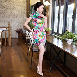 印花短款旗袍修身显瘦中年女装古典风改良仿真丝连衣裙F1383/P95