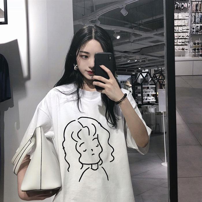 元气少女 夏季韩国ulzzang宽松百搭原宿女孩印花女学生短袖T恤潮