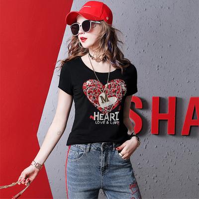 芬克鲨鱼镶钻T恤女2021新款欧洲站女装夏季时尚百搭短袖上衣欧货