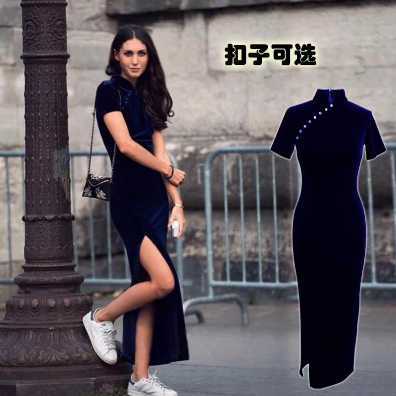 可以穿小白鞋鞋逛街- 新款丝绒短袖新中式改良高开叉长旗袍连衣裙