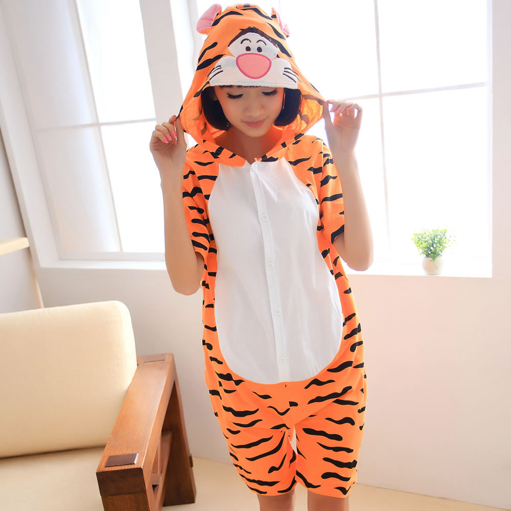 Summer cartoon animal pajamas short sleeve men and women cotton lovely couple Tigger home stage performance clothes