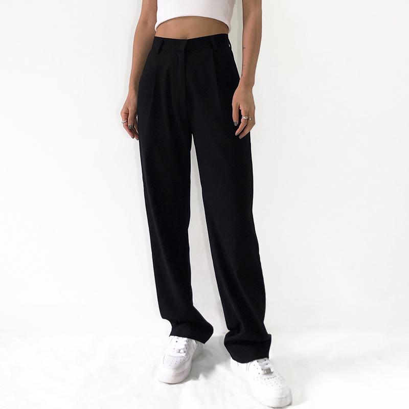 SWAGAL欧美辣妹百搭高腰宽松显高显瘦垂感拖地女士直筒休闲西装裤