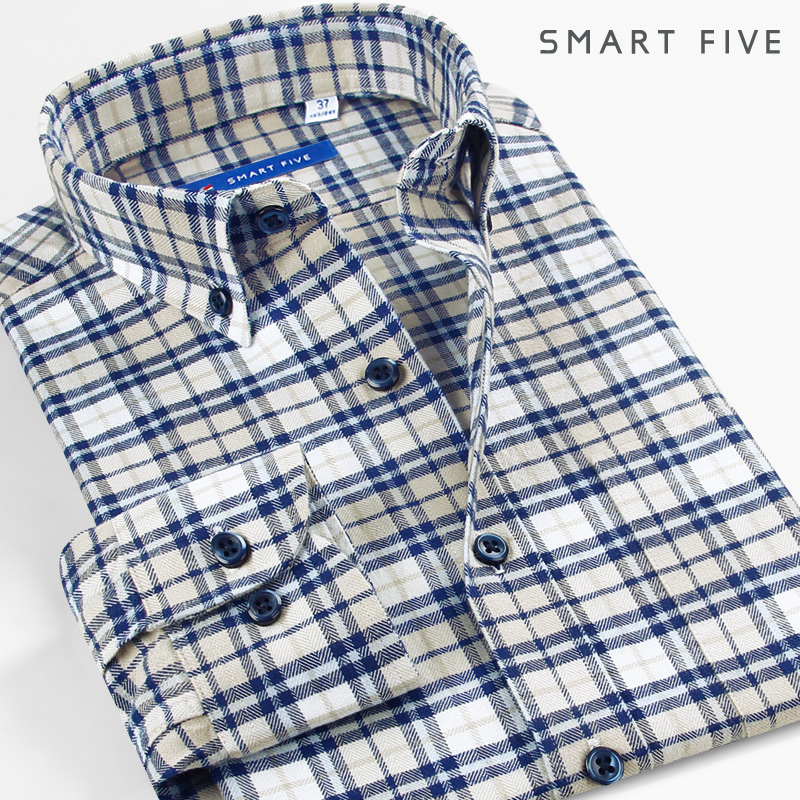 Season 5 Plaid Shirt coat thickened pure cotton business casual buffed shirt long sleeve men's spring inch shirt