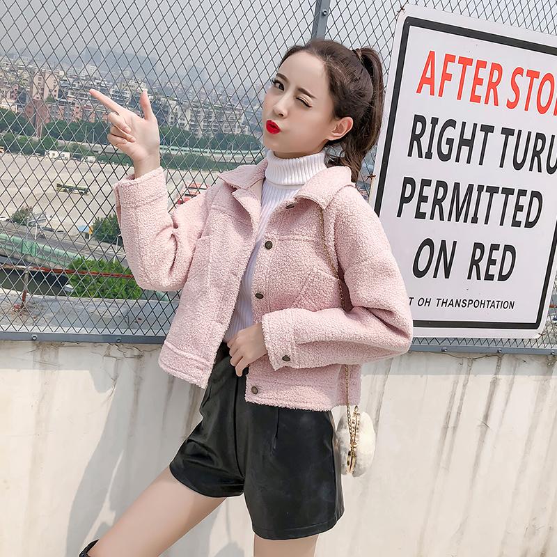 短款外套女2018秋冬新款韩版时尚长袖纯色毛毛拼接修身开衫上衣潮