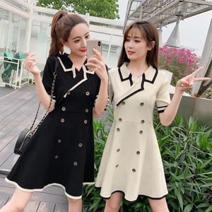 法式复古裙2019夏装新款POLO领双排扣撞色高腰针织裙子女连衣裙潮