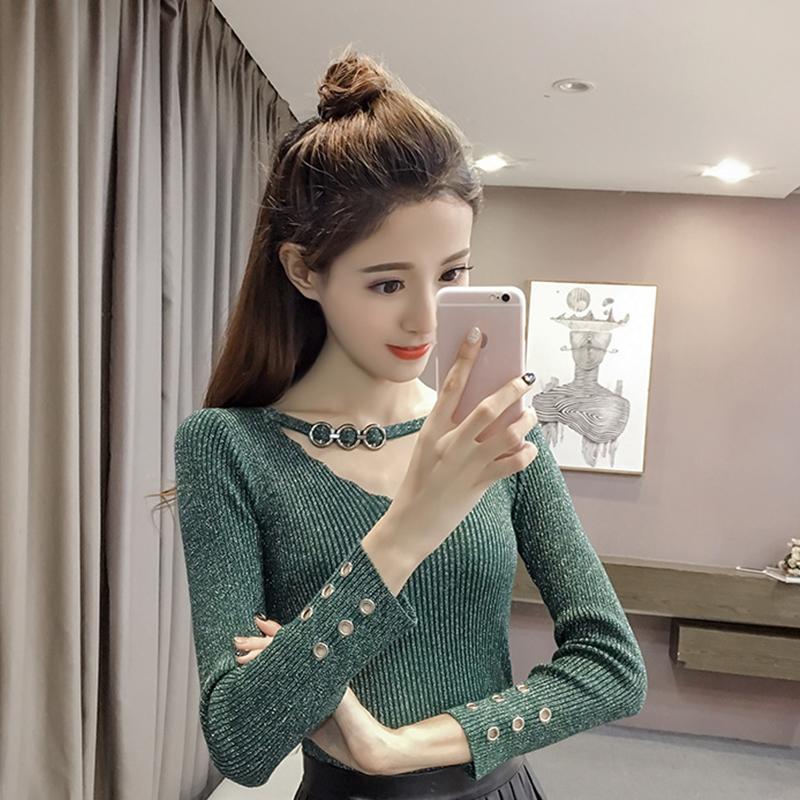 2019春季新款气质亮丝针织上衣韩版修身显瘦打底衫长袖V领毛衣女