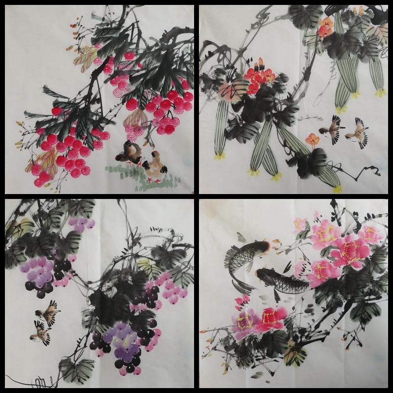 字畫客廳斗方小品寫意作品無款水墨手繪花玄關國畫花鳥畫E-4