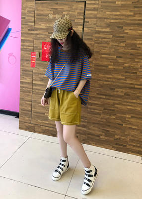 花沐2020春夏装新款韩版宽松休闲条纹袖纯棉大版t恤姐妹装