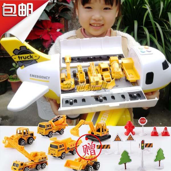 有现货惯性仿真客机带合金小车音乐轨道飞机耐摔汽车儿童男孩玩具