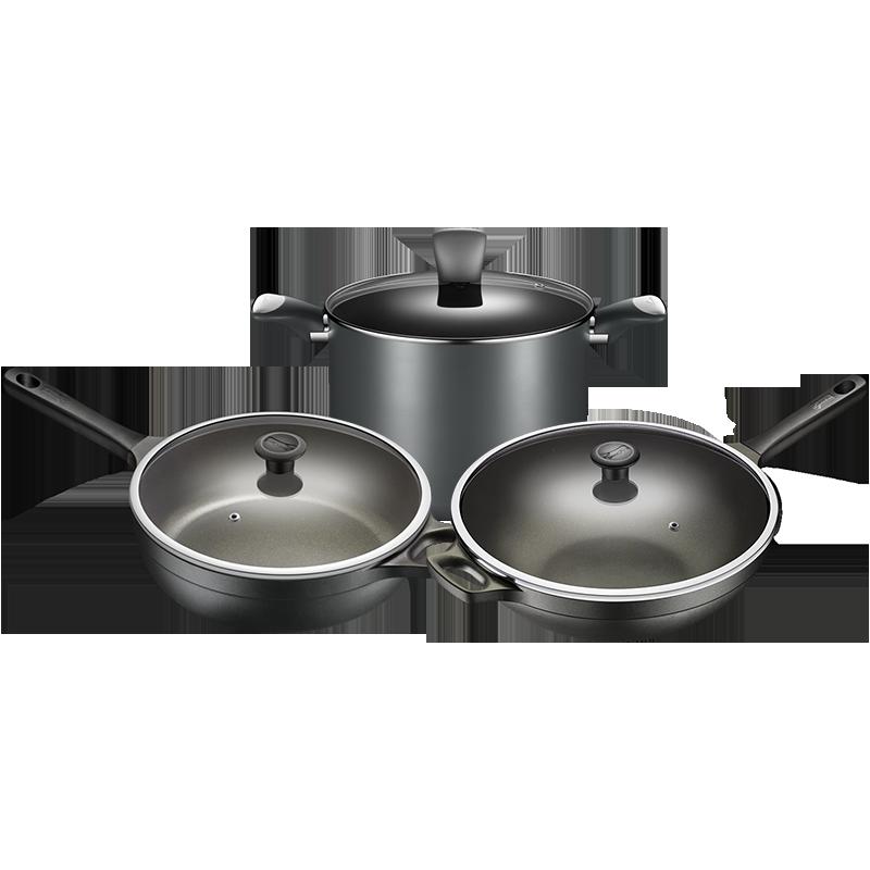 意大利拉歌蒂尼厨房锅具套装家用钻石不粘炒锅平底煎锅汤锅三件套