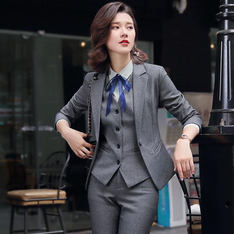 长袖西装外套女OL通勤一粒扣修身显瘦职业工装套装裙裤灰色黑色