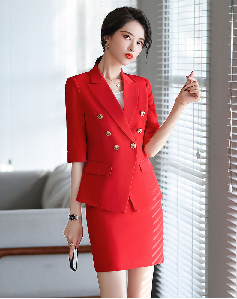 Medium sleeve half sleeve double breasted professional Blazer coat for women ol commuter Slim Fit Black and white scarlet work suit skirt