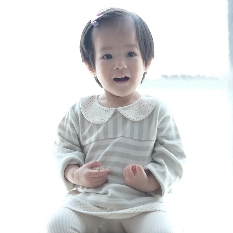 papa爬爬 有機棉 嬰兒女寶寶小圓領假兩件長袖上衣