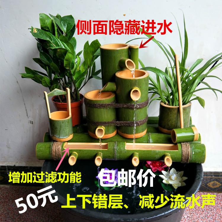 Бамбуковая труба Бамбуковый фильтр Аквариумный аквариум Украшение рыбного пруда Украшение Камень-лоток Бамбуковый ряд 4 вода