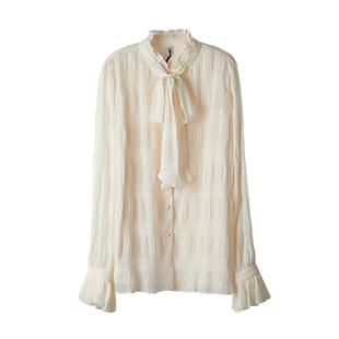 XINER 壓皺超仙蝴蝶結荷葉邊長袖襯衫定製面料雙層温柔女上衣秋冬