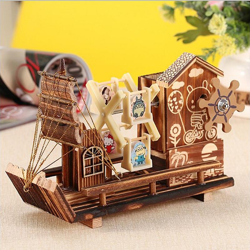 创意旋转风车木质帆船笔筒音乐盒发条八音盒摆件男女儿童生日礼品