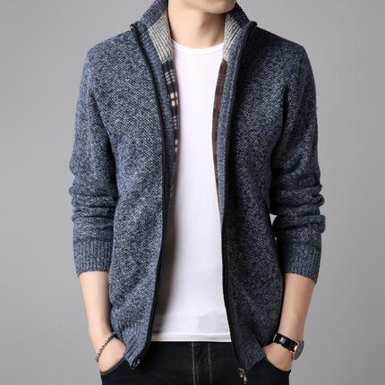 秋冬季毛衣開衫男青年韓版潮流針織衫男士外套立領夾克男