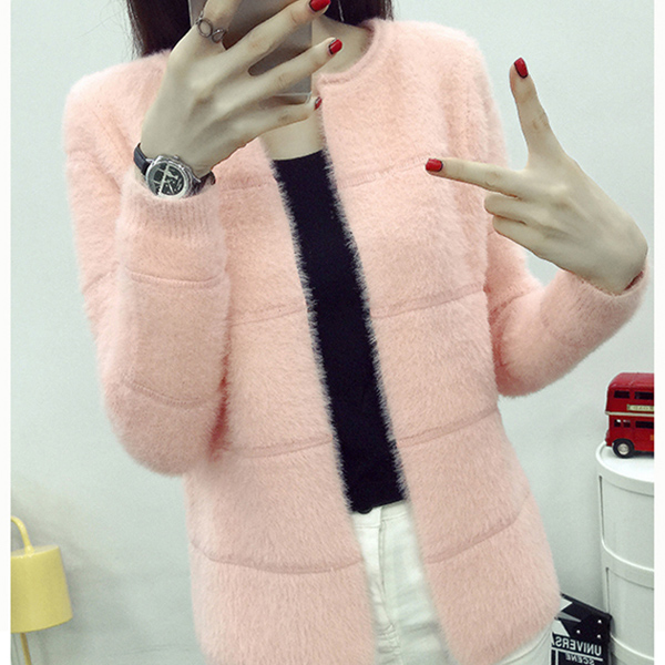 2018 new fashion casual autumn / winter mink imitation solid color versatile slim long sleeve cross stripe cardigan sweater