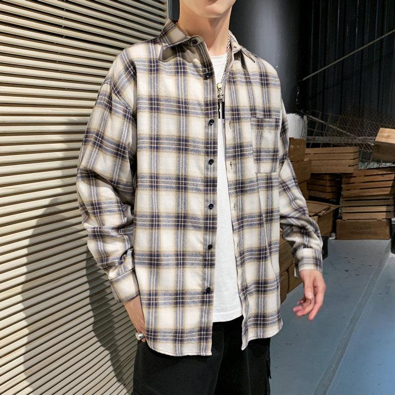 白糖玫瑰二十八间薛之谦的店休闲格子衬衫男生倔犟倔强工作室店铺