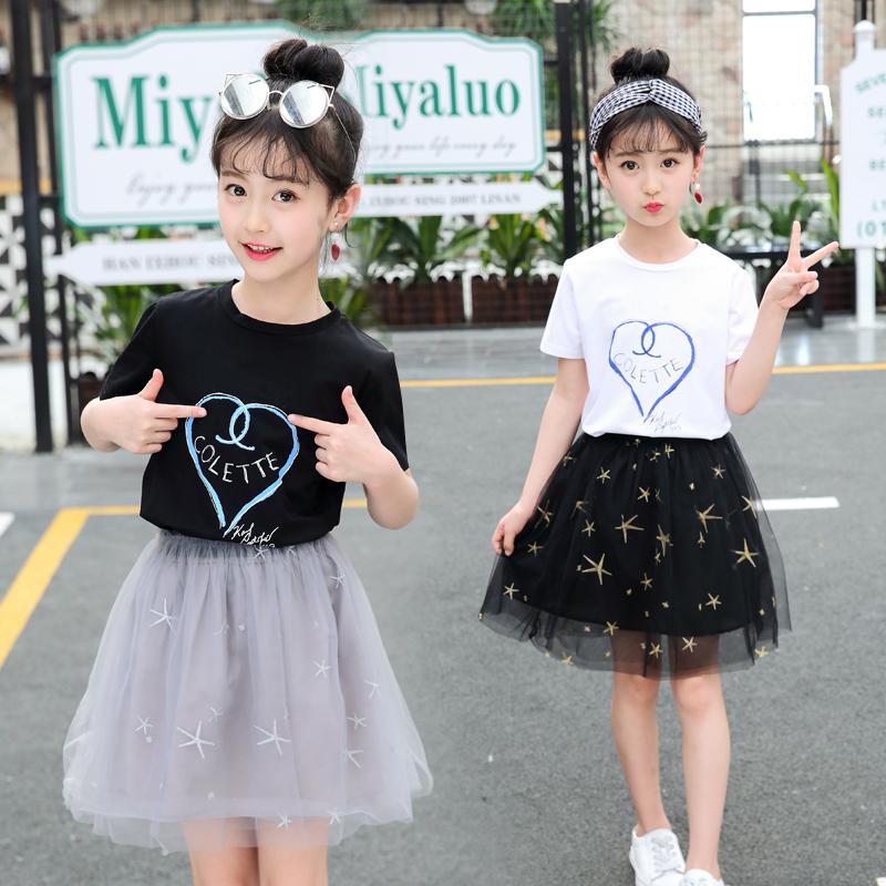 女童套装夏装2019新款韩版时尚儿童装时髦女孩夏季超洋气两件套裙