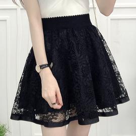 黑色网纱蕾丝半身裙蓬蓬短裙春夏新款女防走光高腰短裙百搭a字裙
