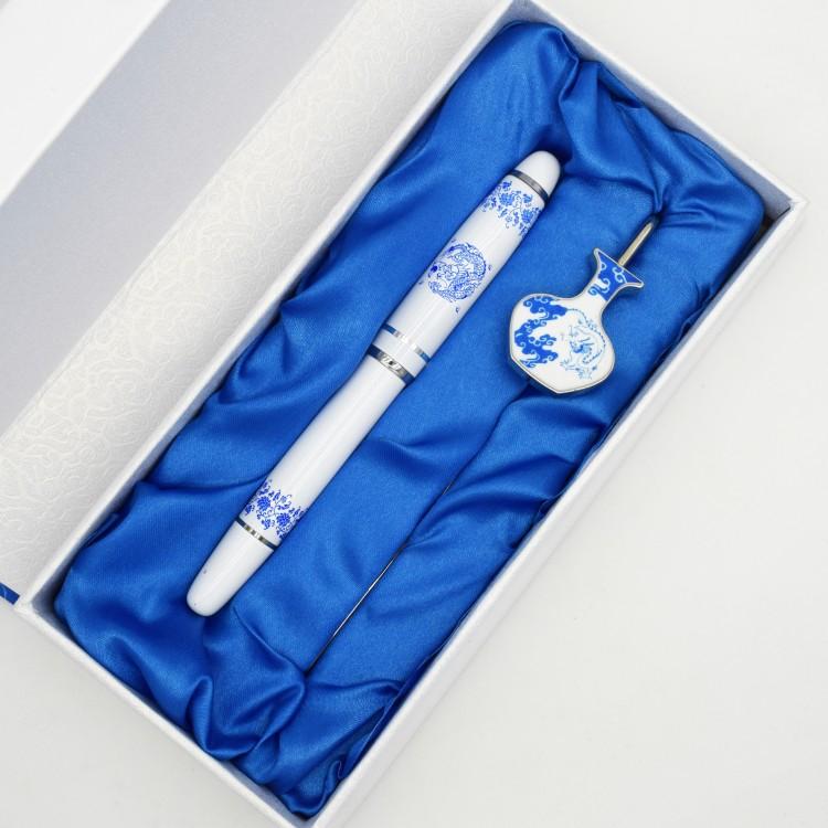 青花瓷龙纹签字笔书签套装中国特色工艺品出国礼物送老外包邮