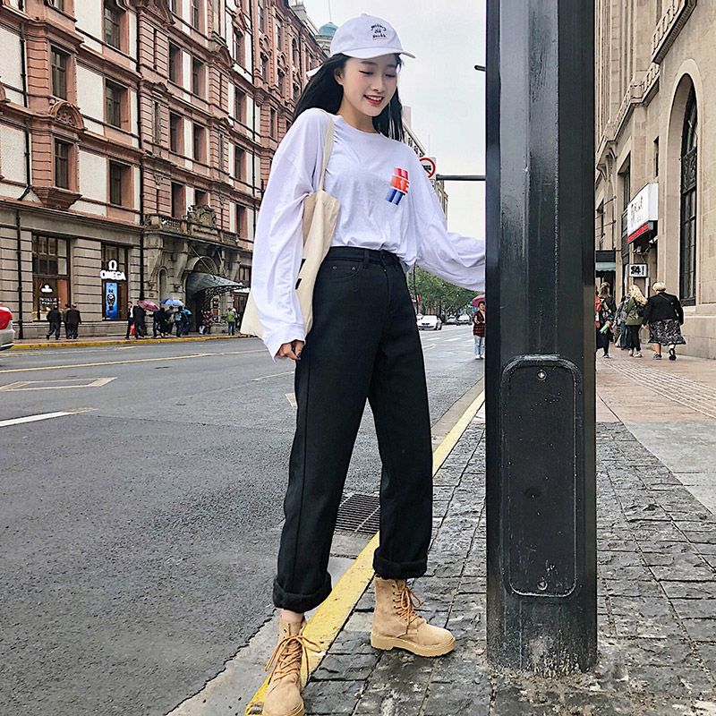 Black plush and bulky jeans womens high waist autumn winter 2020 new Korean students versatile straight pants