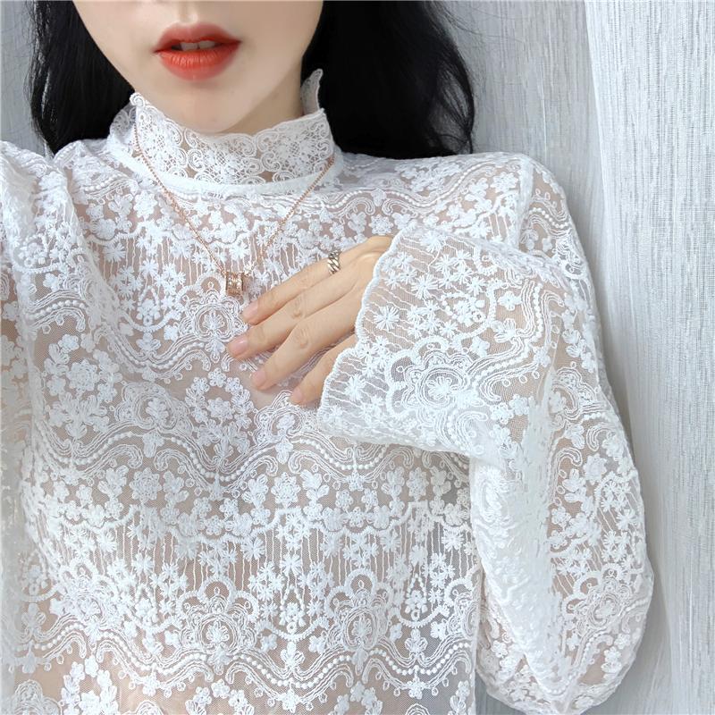 秋冬新款洋气小衫女半高领刺绣花精致内搭蕾丝衫超仙网纱打底上衣