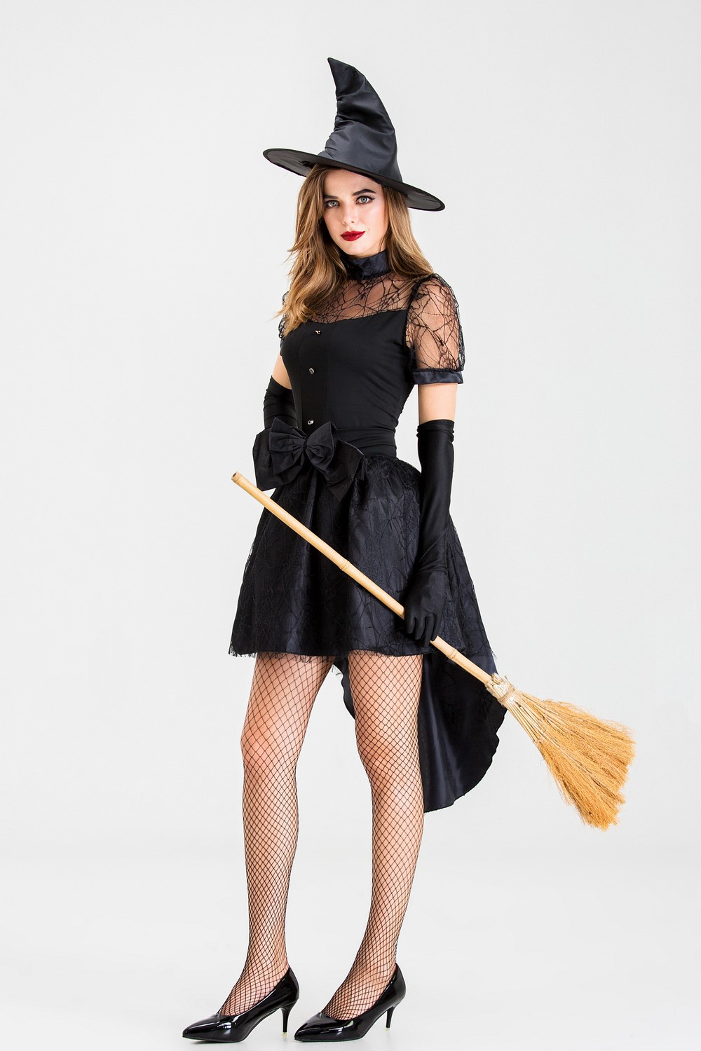 Witch stage costume swallow tail skirt sexy witch game costume women Halloween Costume Adult Black