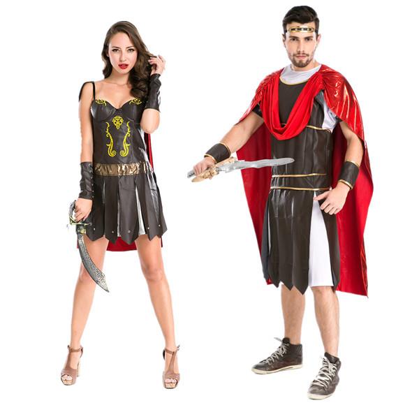 Spartan warrior couple Costume Halloween Gladiator Cosplay Roman Warrior costume stage costume