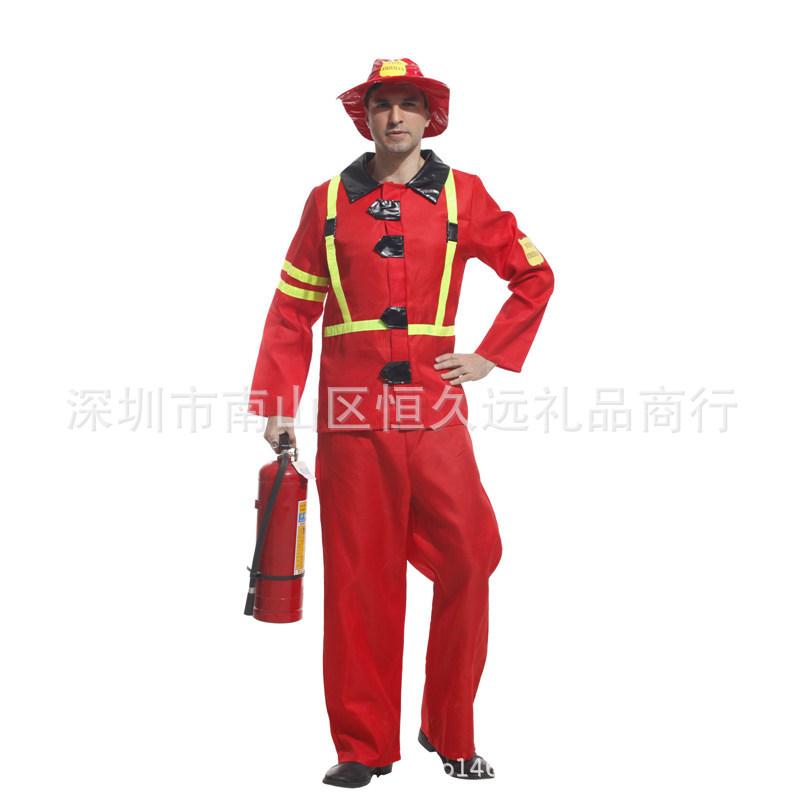 万圣节款消防员演出服角色扮演化装舞会消防员cosplay表演服装男