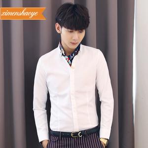 男士新款男衬衫青年修身小码发型师寸衫纯色免烫紧身短袖白衬衣潮