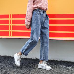 胖妹妹秋装新款2019加肥加大码女装显瘦直筒阔腿牛仔女裤子宽松潮