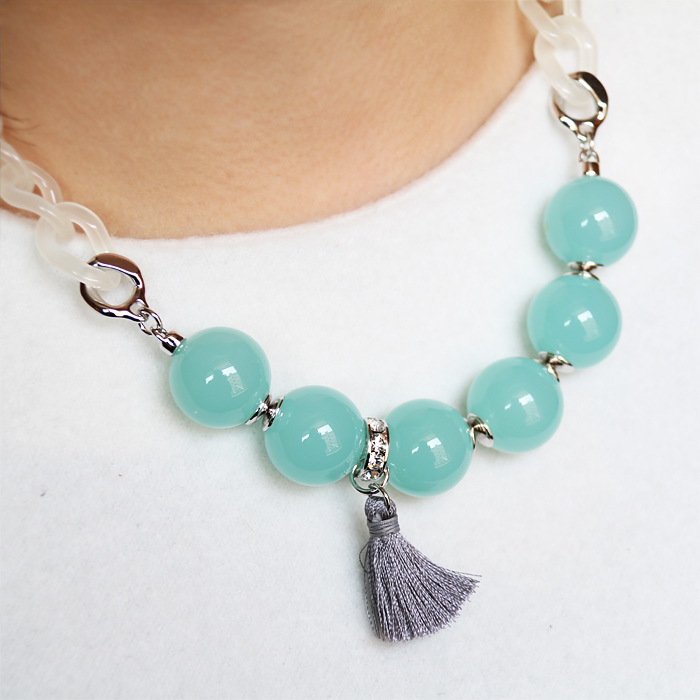 Aznavour South Korea imported jewelry versatile Beaded tassel sweater chain collarbone short necklace A1