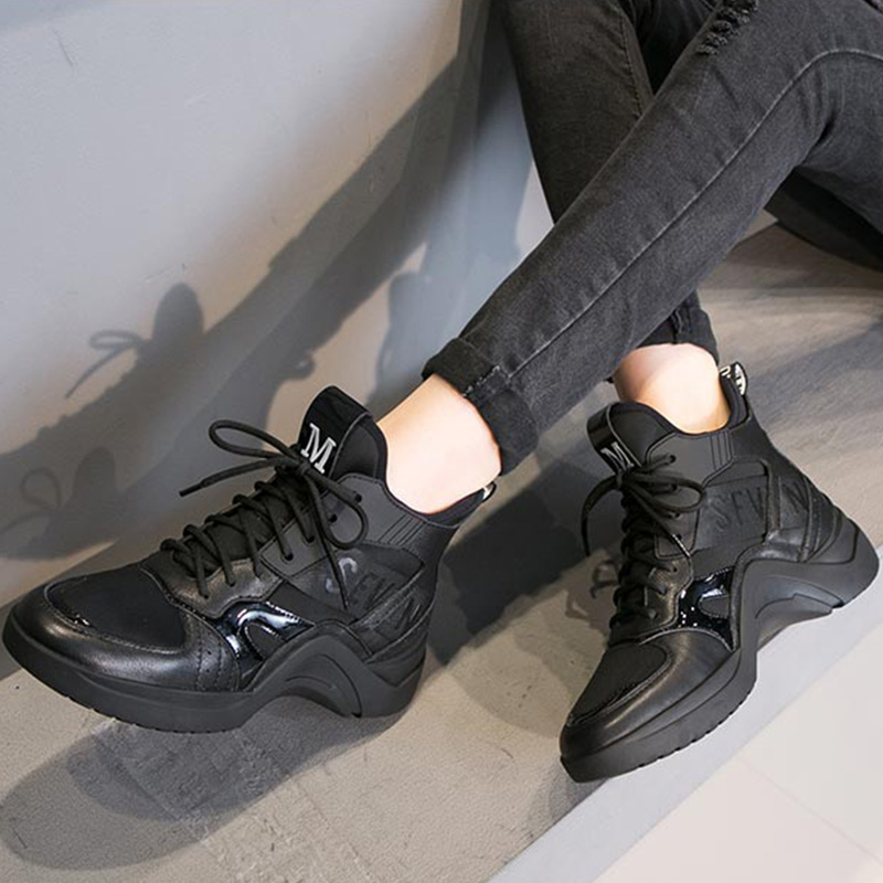 Europe station sports and leisure Womens shoes 2020 winter new thick bottom printed elastic cloth inner high lace up high top shoes