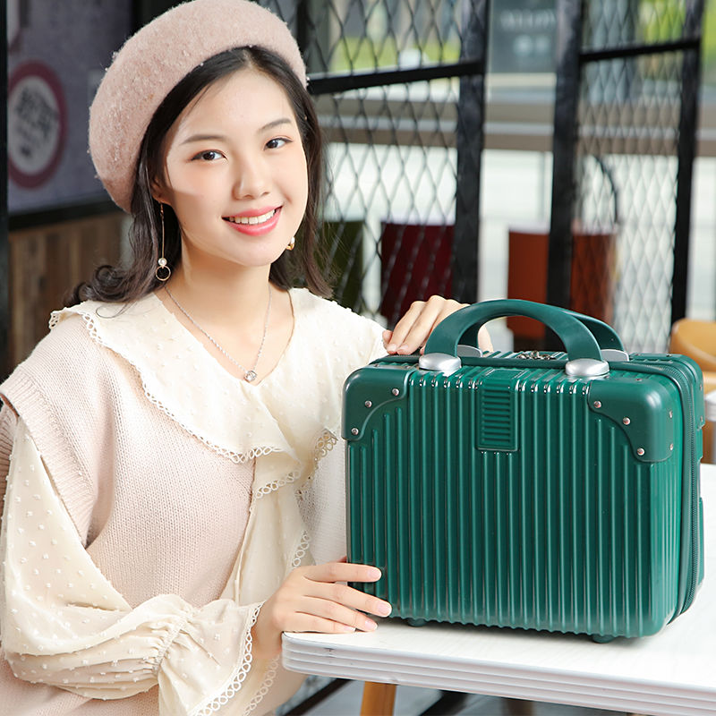 复古直包角大容量化妆箱女小旅行李箱收纳包14寸迷你手提箱子16寸图片
