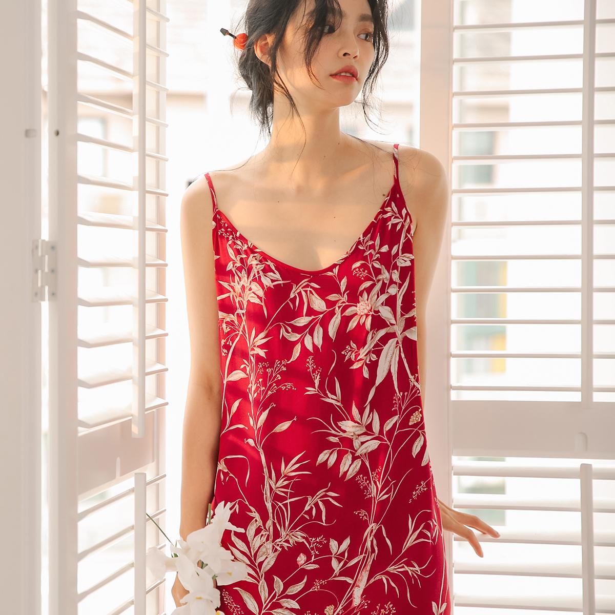 薄款无袖纯棉绸睡裙女士夏季吊带睡衣裙子美背性感可外穿长款韩版11月21日最新优惠