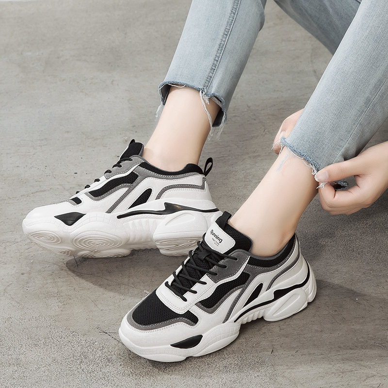 Daddy shoes female ins tide 2020 new autumn super fire black net red wild thick-soled sponge cake white sneakers