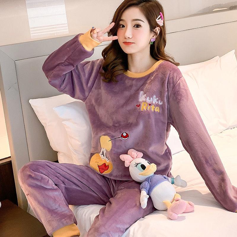 29秋冬季法兰绒韩版卡通睡衣女长袖套装可爱珊瑚绒甜美冬天女士睡