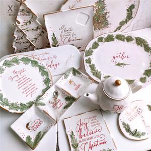 草原之路圣诞餐具套装 浮雕树叶大果盘 三格盘 茶壶 挂牌餐盘礼品