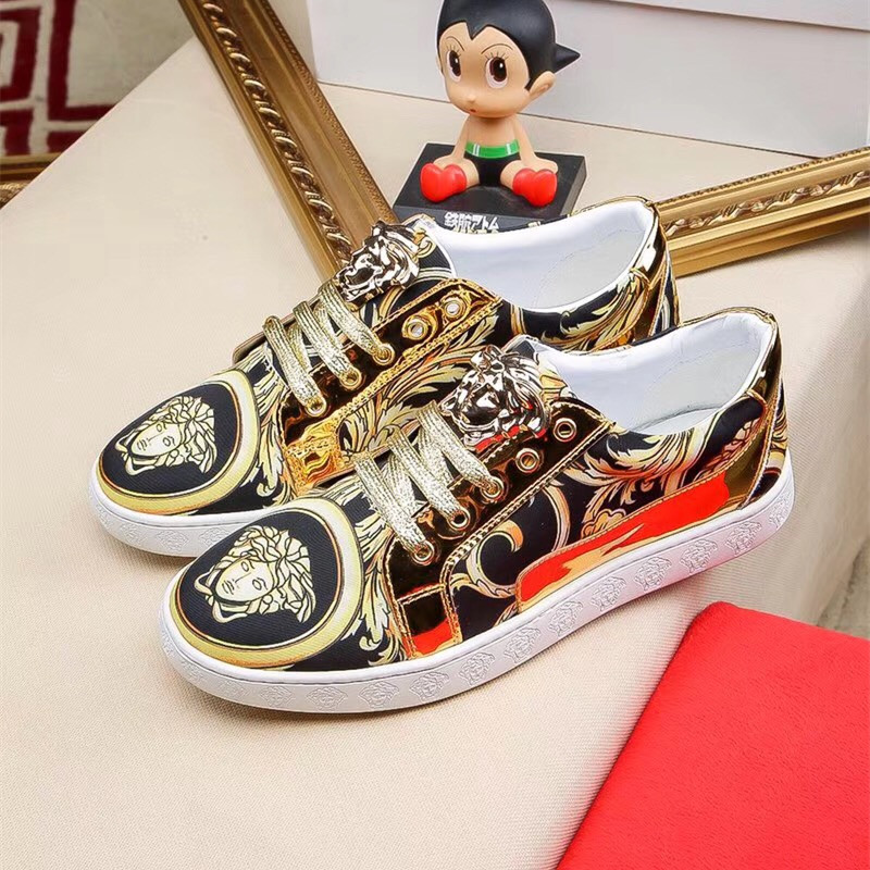Fashion fashion mens casual shoes cool Gold Print stitching cowhide lace up shoes Street pat Medusa low top shoes