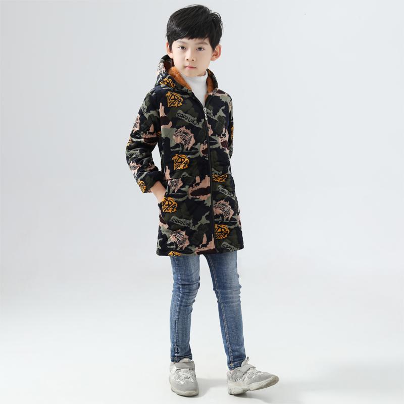秋冬男童宝宝有帽子羽绒服罩衣书法绘画长袖拉链防污三层夹棉外套