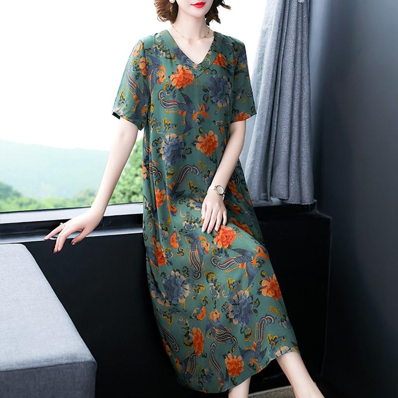棉绸年轻款印花2019新款夏季连衣裙券后128.00元