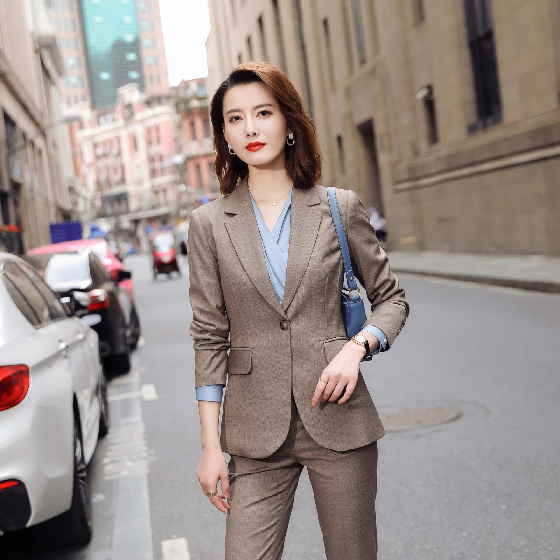 Fall 2020 new Plaid fashion casual goddess Jacket Top Womens Korean long sleeve slim fit versatile suit
