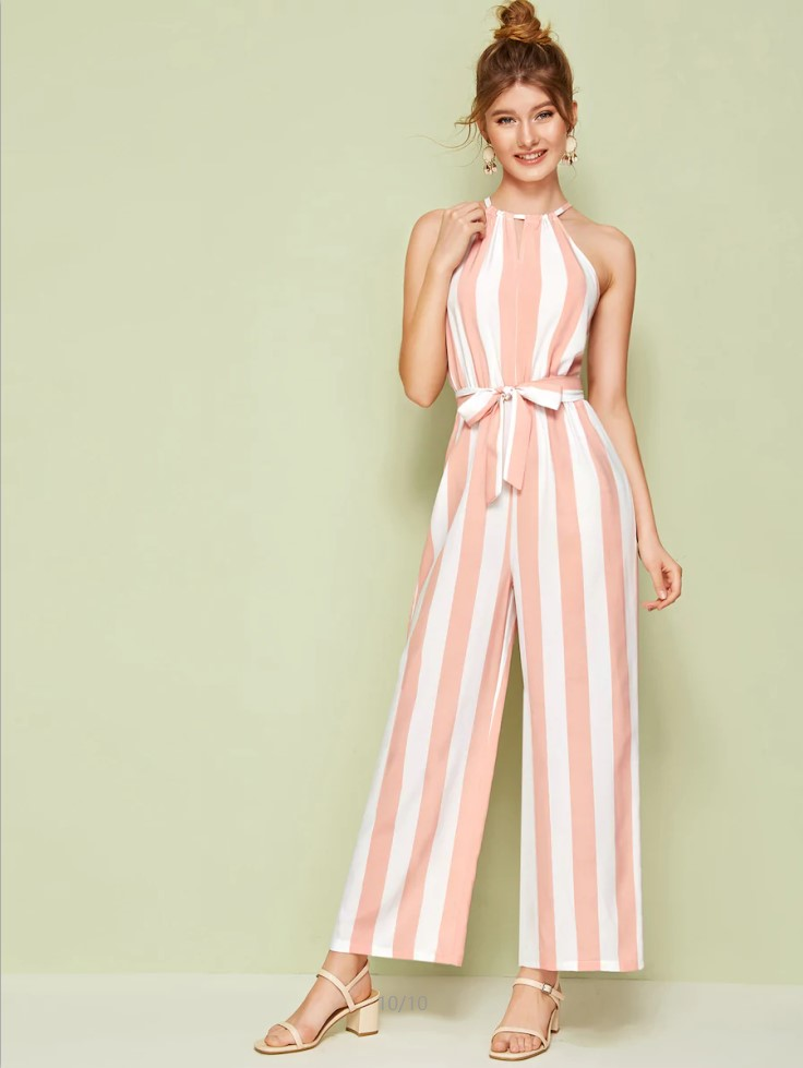European and American foreign trade new off shoulder cinnamon neck belt trimming waist wide foot striped Jumpsuit