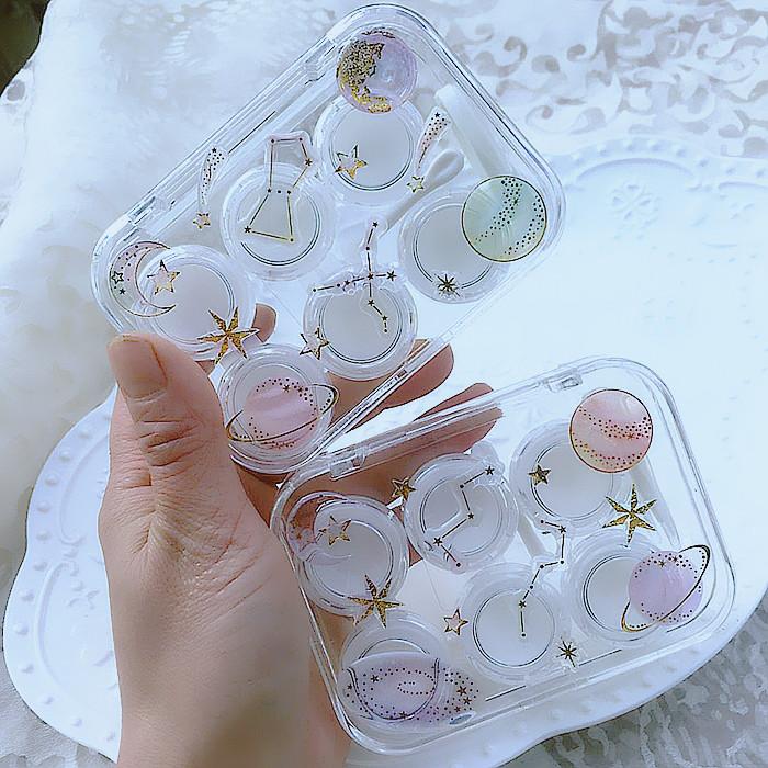 现货包邮 星球宇宙 透明水晶 三副装3副多副隐形近视眼镜盒美瞳盒