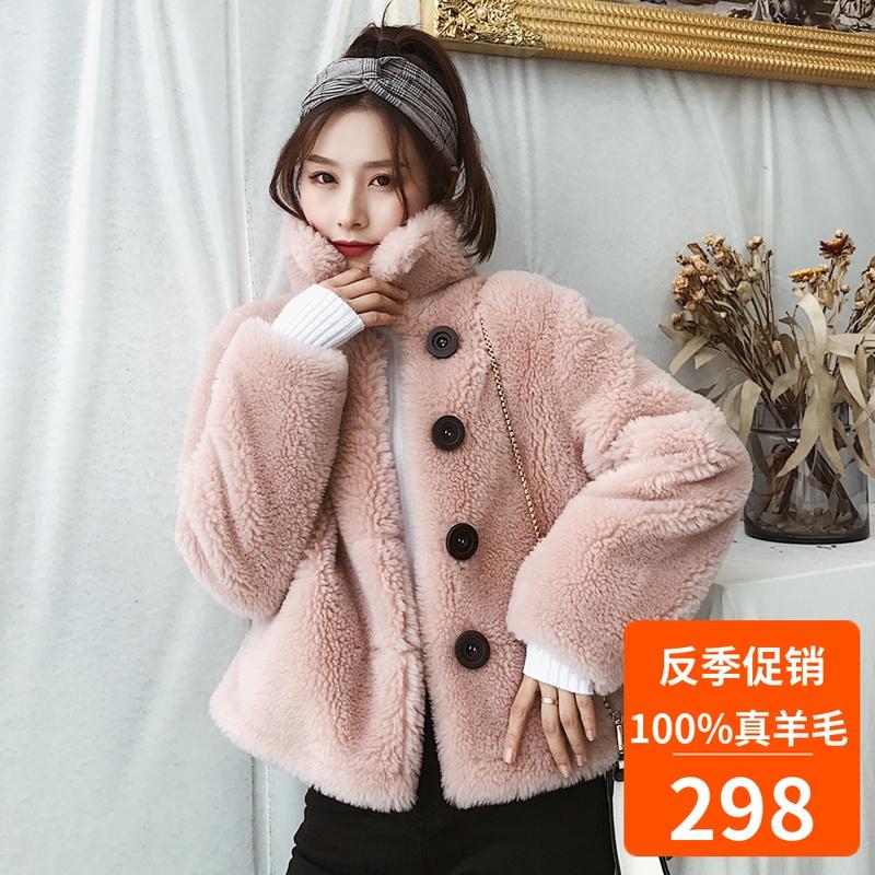 2019 新款短款皮草外套女 羊羔毛皮毛羊剪绒时尚大衣一体女