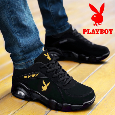 Playboy mens shoes winter leather plush cotton shoes leisure sports running shoes tourist shoes air cushion Fashion genuine shoes